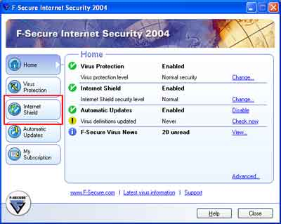 Sådan åbnes F-Secure Internet Security Firewall for SPAMfighter