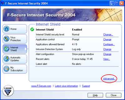 Configurazione F-Secure Internet Security Firewall