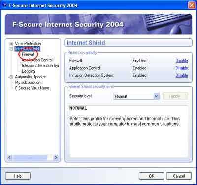 Mengatur F-Secure Internet Security Firewall