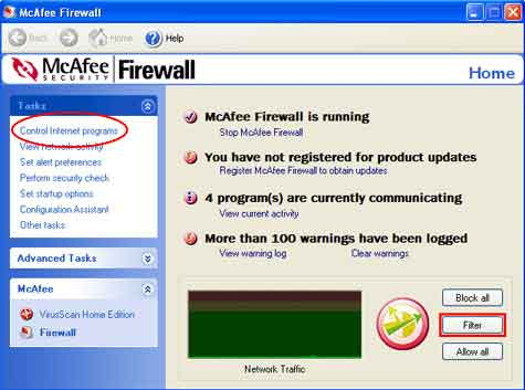 Here is how to configure your McAfee Firewall for the SPAMfighter Server