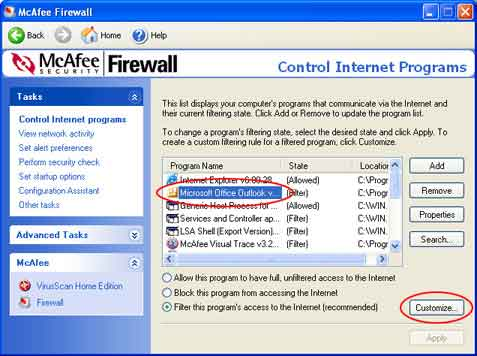 1.Mulakan program McAfee Firewall.