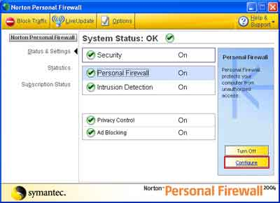 Configure,    Norton Personal Firewall,   Spamfighter,      spam,      outlook