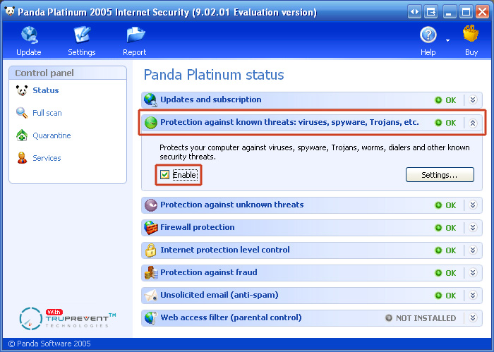 "3. Click the pane ""Protection against known threats"""