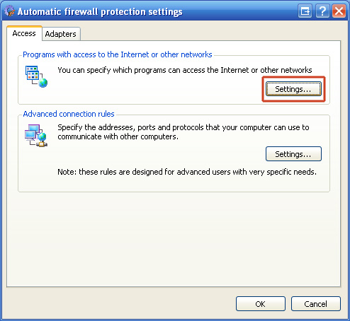 "6. Click ""Settings..."" in ""Programs with access to the Internet or other networks""."