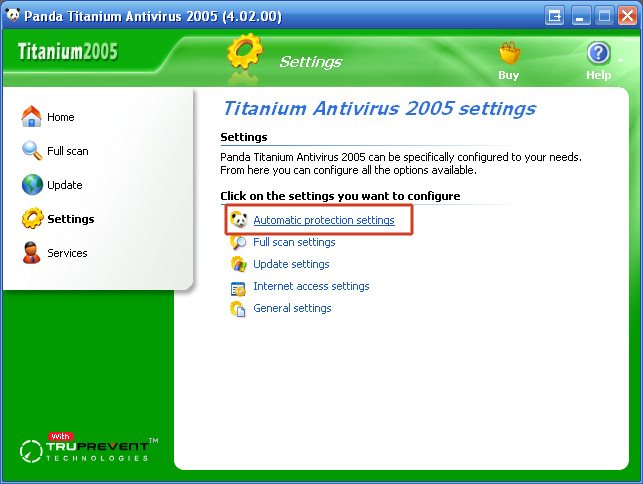 "4. Click ""Automatic protection settings"".<br /> <br />"