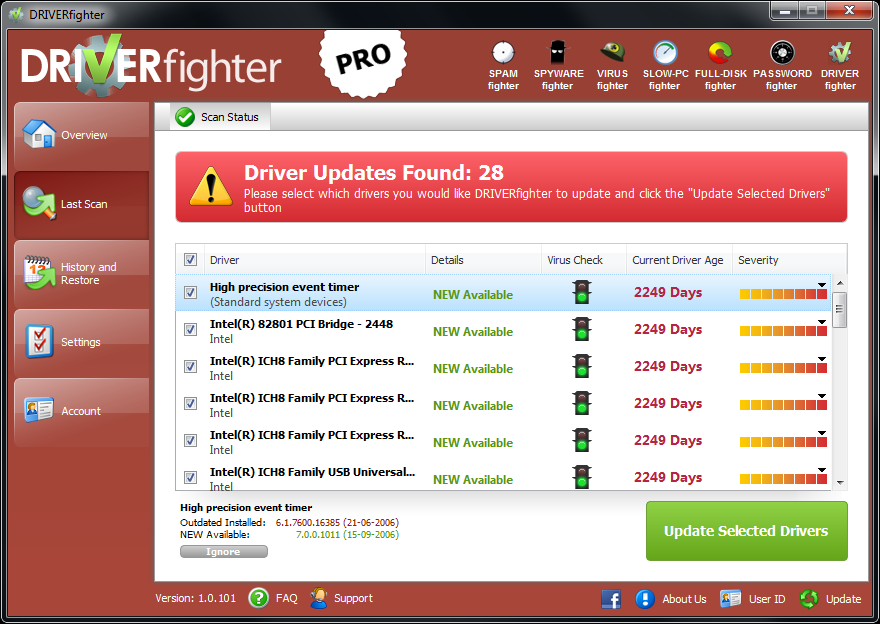 Sit back and relax, DRIVERfighter will download and install updated