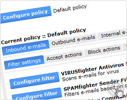 SEM has a variety of spam filters at your disposal. Configure them as you please. No fuss though - the default settings work great for most organizations.
