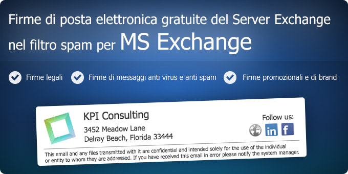 Firme di posta elettronica gratuite del Server Exchange nel filtro spam per MS Exchange