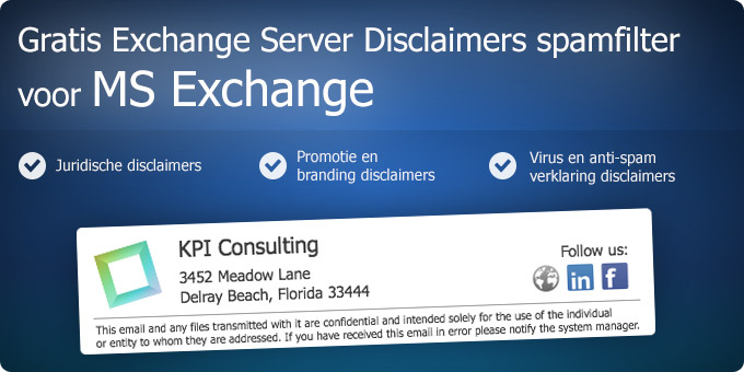 Gratis Exchange Server Disclaimers spamfilter voor MS Exchange