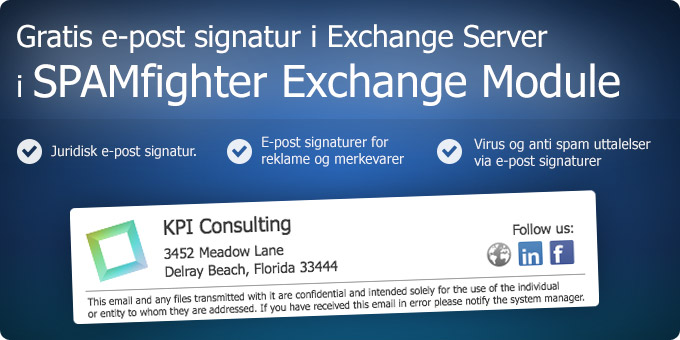 Gratis e-post signatur i Exchange Server i SPAMfighter Exchange Module