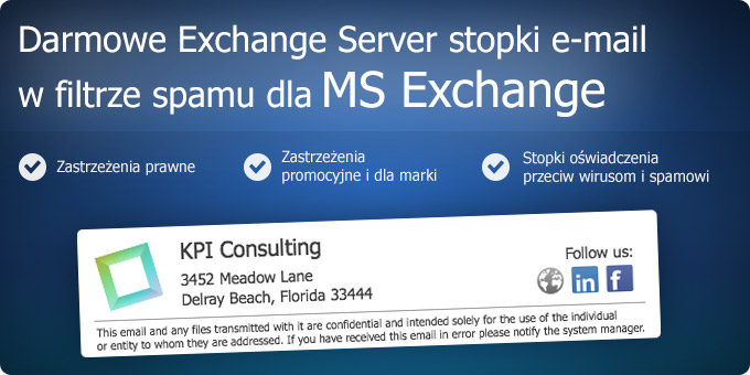 Darmowe Exchange Server stopki e-mail w filtrze spamu dla MS Exchange