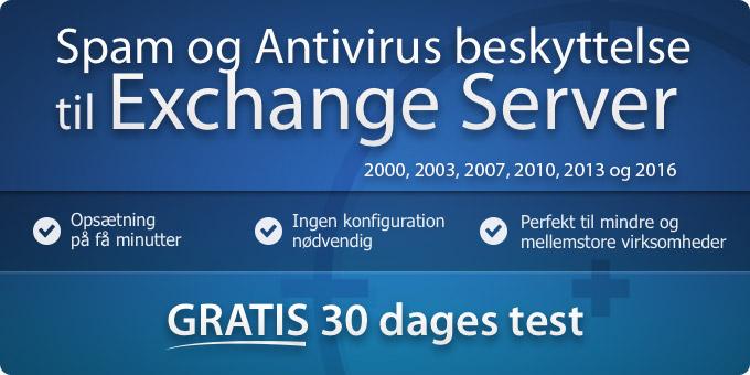 Spam Filter til Exchange og virusbeskyttelse til Exchange 2013, 2010, 2007 og 2003
