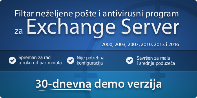 Filtar neželjene pošte i antivirusni program za Exchange Server 2000, 2003, 2007 i 2010