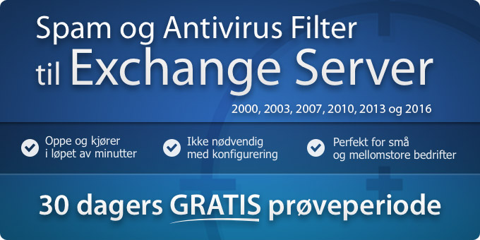 Spam og Antivirusfilter til Exchange 2000 - 2013