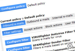 SPAMfighter Exchange Module has a variety of spam filters at your disposal. Configure them as you please. No fuss though - the default settings work great for most organizations.