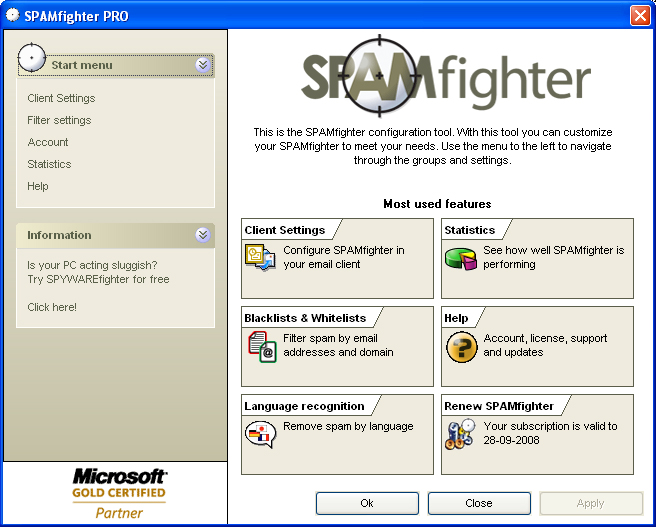 SPAMfighter client screenshot
