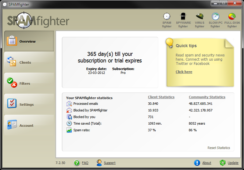 Click to view SPAMfighter Standard 7.6.144 screenshot