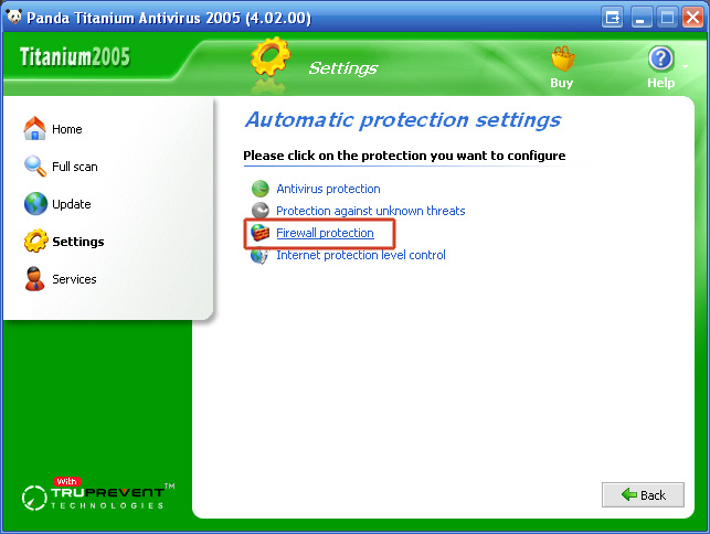"5. Clik ""Firewall protection""."