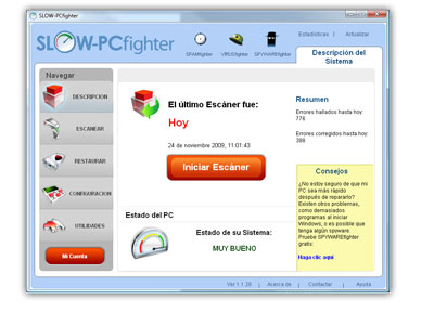 ¡Descargue SLOW-PCfighter y tenga su ordenador escaneado, y sin errores!