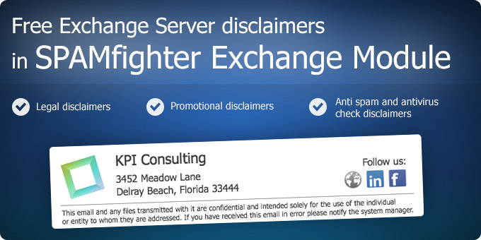 Free Exchange Server Disclaimers in Spam Filter for MS Exchange