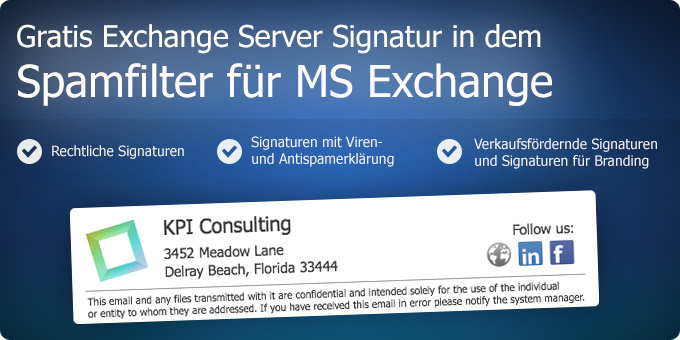 Gratis Exchange Server Signatur in dem Spamfilter für MS Exchange